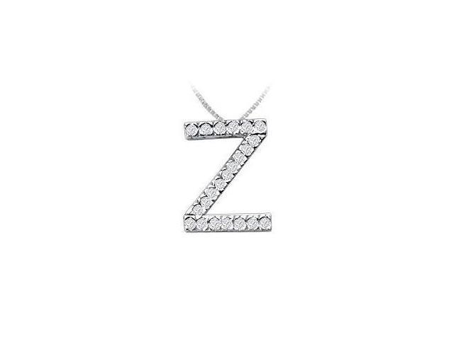 Classic Z Initial Diamond Pendant  14K White Gold - 0.33 CT Diamonds