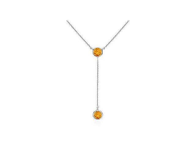 Drop Necklace of 0.20 Carat Citrines in 14K White Gold  Bezel Setting