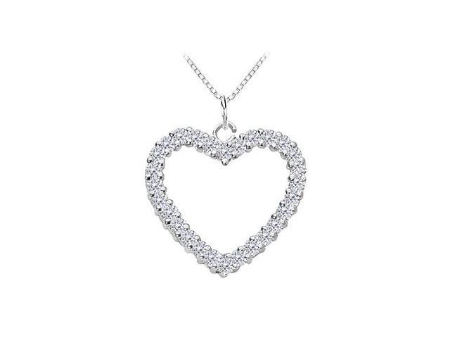 Diamond Heart Pendant in 14K White Gold 0.75 Carat Diamonds