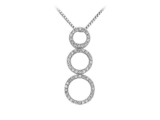 Three Circle Diamond Pendant  14K White Gold - 0.33 CT Diamonds