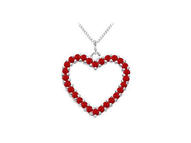14K White Gold Natural Ruby Heart Pendant with 0.75 Carat Total Gem Weight