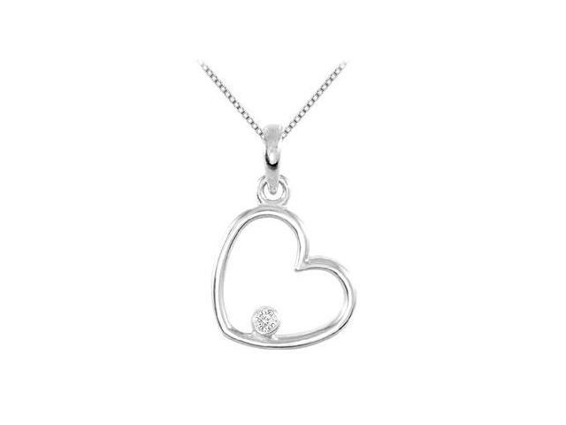 Floating Diamond Heart Pendant 0.03 Carat in .925 Sterling Silver 16 Inch Necklace 15.25X10.00MM