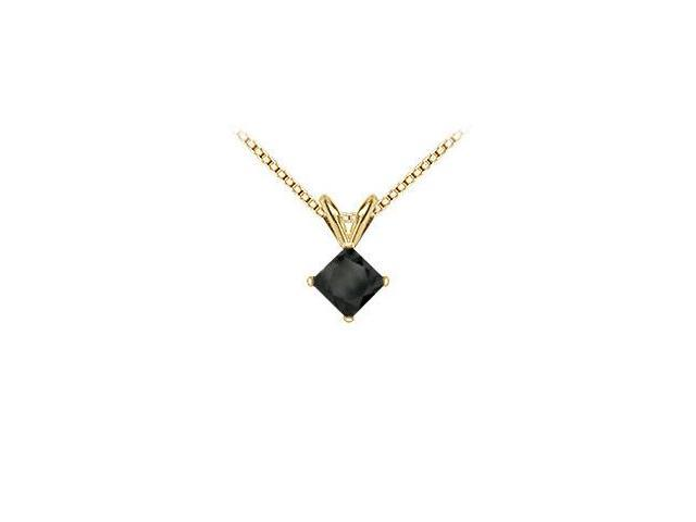 14K Yellow Gold  Princess Cut Black Diamond Solitaire Pendant - 2.00 CT. TW.