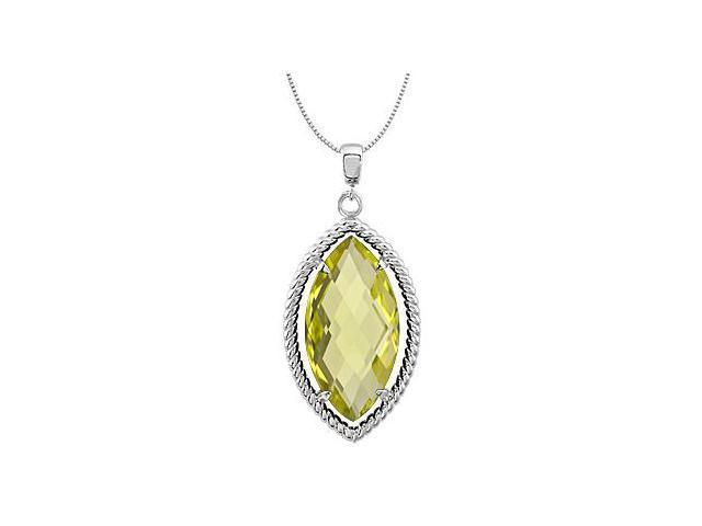 Marquise Genuine Lemon Quartz Pendant in .925 Sterling Silver 18 Inch Necklace 20X10 MM