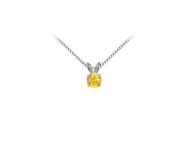 14K White Gold Yellow Sapphire Solitaire Pendant with 4.00 Carat TGW