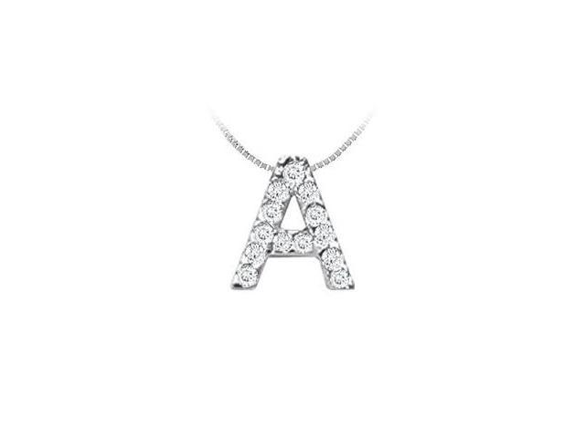 Classic A Initial Diamond Pendant  14K White Gold - 0.15 CT Diamonds
