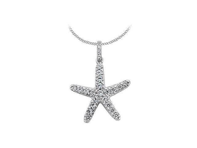 Diamond Star Fish Necklace in 14K White Gold 0.50 Carat Diamonds