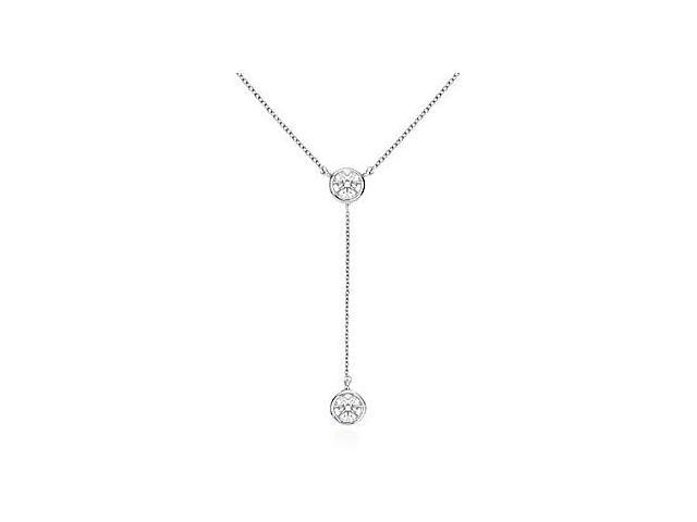 14K White Gold Bezel Set Cubic Zirconia Drop Necklace with 0.20 Carat Total Gem Weight