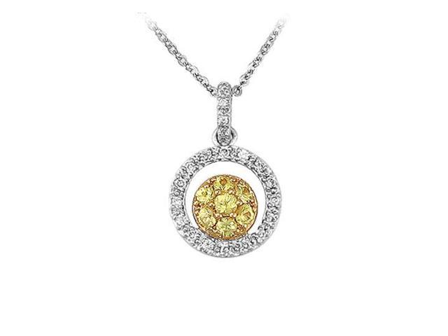 Diamond Circle Pendant  14K Two Tone ( White  Yellow ) Gold - 0.50 CT Diamonds