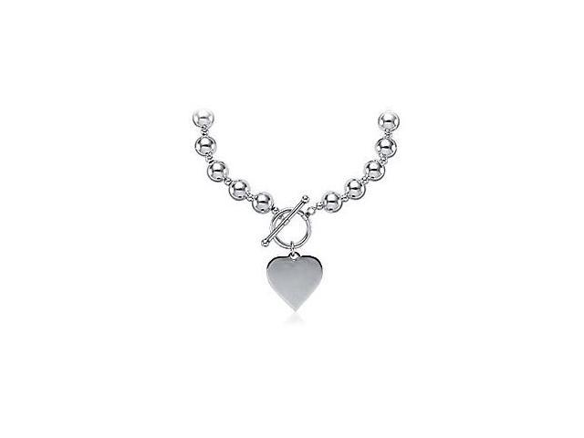 Beads Necklace Set on Sterling Silver Chain with 925 Sterling Silver Heart and Toggle Lock