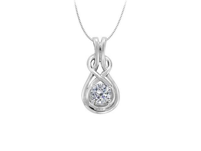 Diamond Love Knot Pendant in 14K White Gold totaling 0.10 CT TDW with White Gold Chain