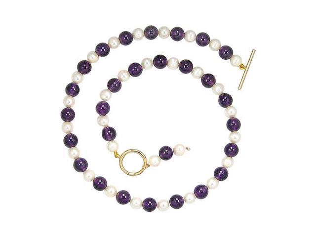 Cultured Pearl and Amethyst Necklace  14K Yellow Gold - 75.00 CT TGW
