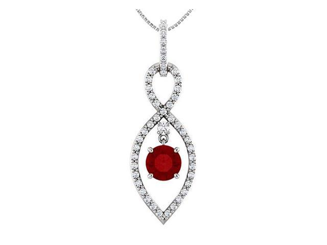 Diamond Infinity Inspired Pendant in 14K White Gold with Natural Ruby of 1.50 Carat TGW