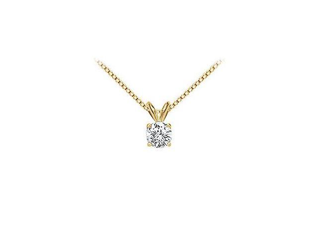 18K Yellow Gold  Prong Set Round Diamond Solitaire Pendant  0.50 CT. TDW.
