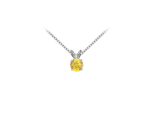 Solitaire Pendant Yellow Sapphire in 14K White Gold with 5.00 Carat TGW
