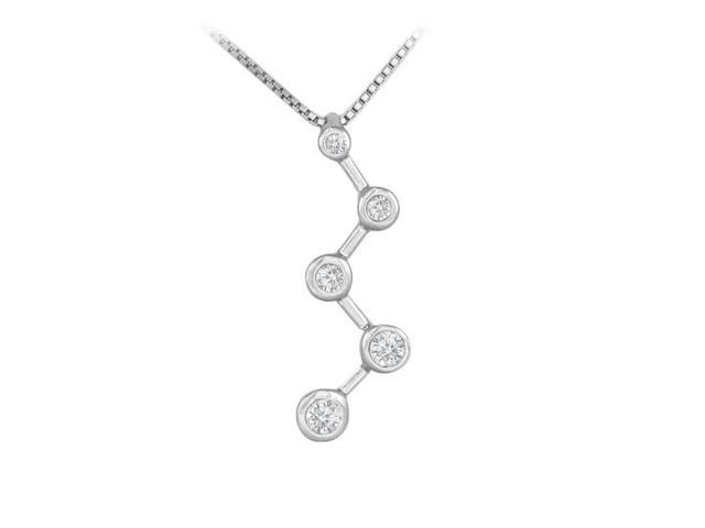 Diamond Zig-Zag Journey Pendant  14K White Gold - 0.25 CT Diamonds