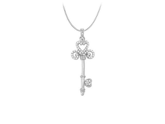 Tiffany inspired Diamond Heart Key Pendant in 14K White Gold totaling 0.33 CT TDW
