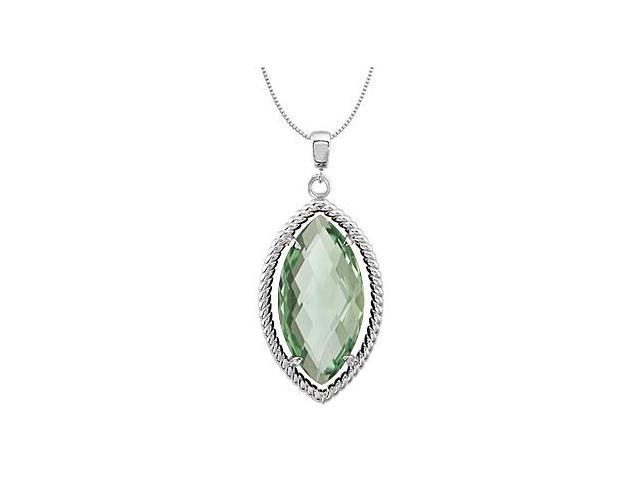 .925 Sterling Silver Rope Style Marquise Green Quartz 18 Inch Necklace Pendant 20X10 MM
