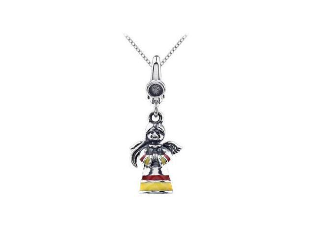 Angel Charm with Enamel Pendant in .925 Sterling Silver 28.50X10.00 MM