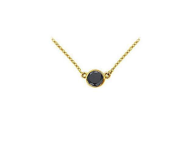 14K Yellow Gold  Bezel Set Round Black Diamond Solitaire Pendant - 0.50 CT. TW.