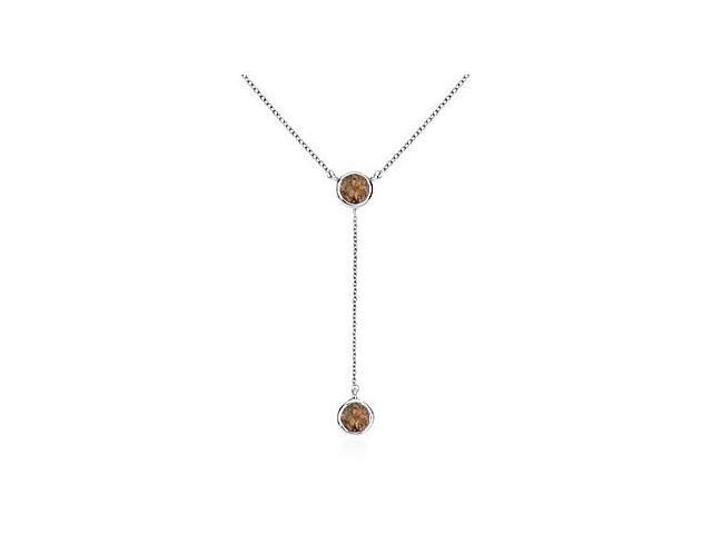 Smoky Topaz Drop Necklace with 0.20 Carat in White Gold 14K Bezel Setting