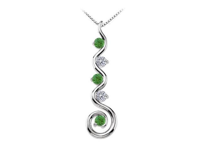 May Birthstone Created Emerald and CZ Spiral Pendant in Sterling Silver 0.75 CT TGW