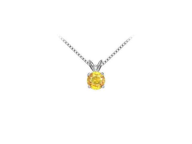 Yellow Sapphire Solitaire Pendant in 14K White Gold 10.00 Carat TGW