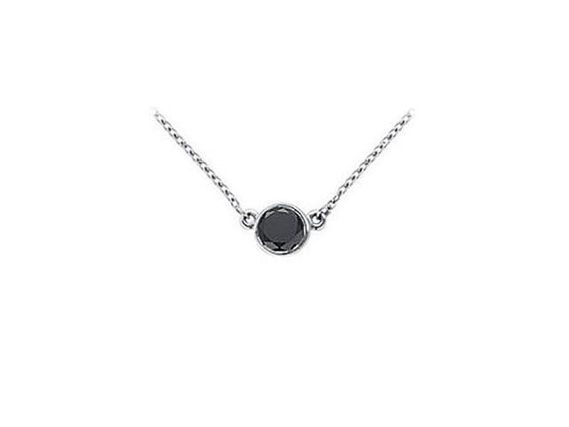14K White Gold  Bezel Set Round Black Diamond Solitaire Pendant - 0.50 CT. TW.