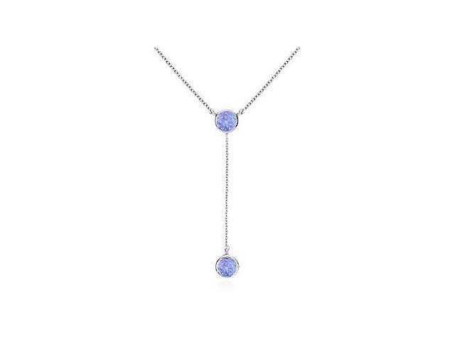 Fashion White Gold 14K Tanzanite Drop Necklace of 0.20 Carat Total Gem Weight