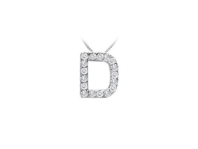 Classic D Initial Diamond Pendant  14K White Gold - 0.15 CT Diamonds