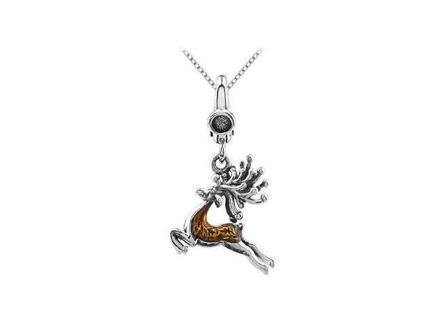 Reindeer Charm with Enamel Pendant in Rhodium Plated .925 Sterling Silver 27.50X17.00 MM