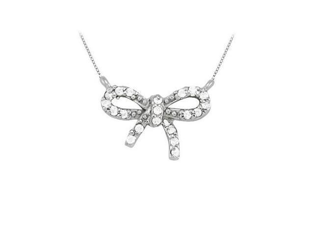 Diamond bow pendant in 14K White Gold totaling 0.10 CT TDW Conflict Free Diamonds