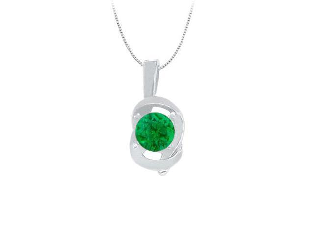 Knot pendant in Sterling Silver with May Birthstone Created Emerald 0.50 CT TGW