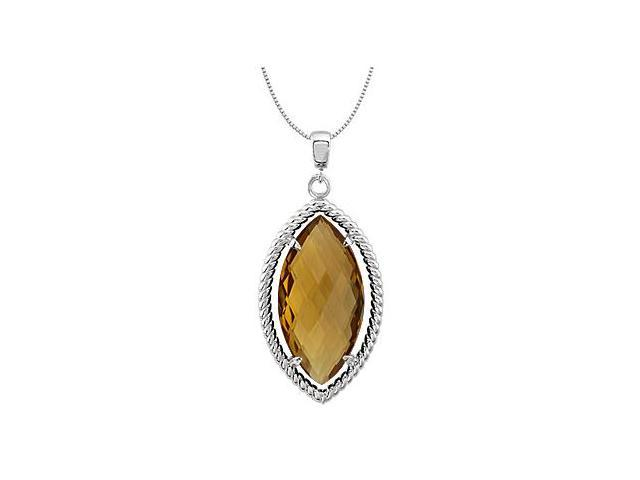Sterling Silver Rope Design Marquise with 20x10 MM Genuine Honey Quartz Pendant in 18 Inch