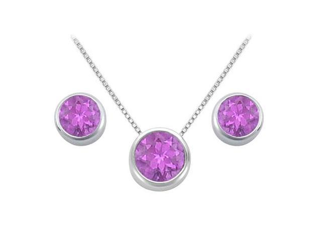 Amethyst Solitaire Stud Earrings and Pendant in 14kt White Gold 3.00.ct.tgw