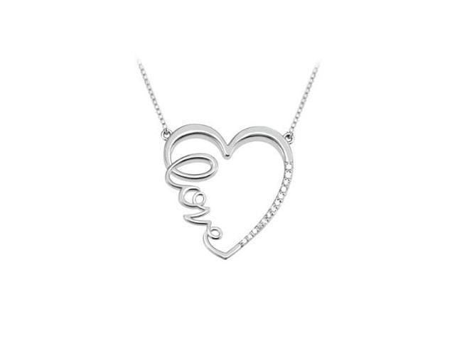 Diamond Heart Love Infinity Necklace in 14K White Gold Quarter Carat Diamonds