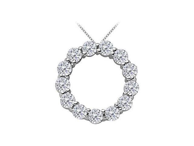 2 Carat CZ Circle of Life Pendant in Rhodium Treated .925 Sterling Silver 16 Inch Necklace