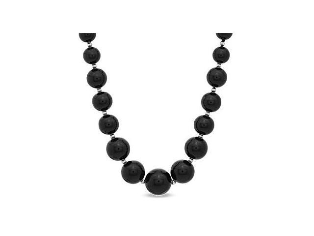Graduated Black Onyx with Beads Necklace 18 Inch and a 14K White Gold Lobster Clasp