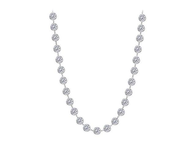 Diamonds By The Yard Necklace in 14K White Gold Bezel Set 7 ct.tw