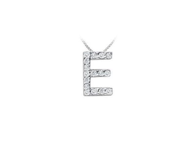 CZ Initial Sterling Silver E Pendant