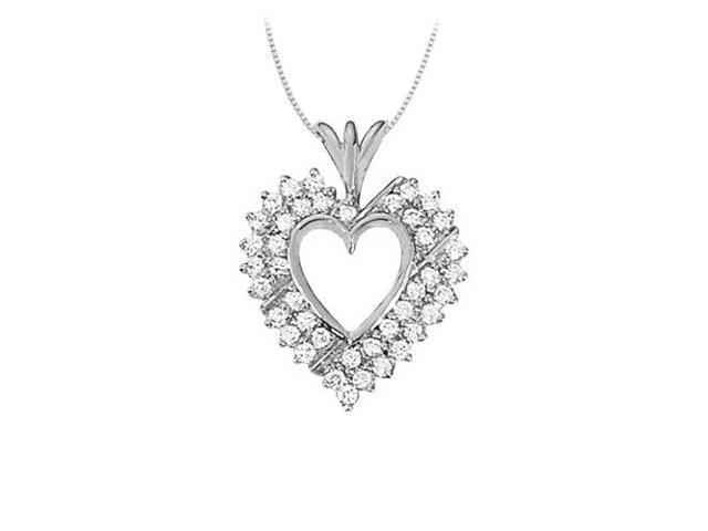 April birthstone Diamond Heart Pendant in 14K White Gold With Total 1.00 Carat Diamonds in Heart