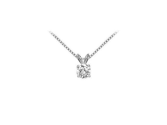 14K White Gold  Round Diamond Solitaire Pendant - 0.75 CT. TW.