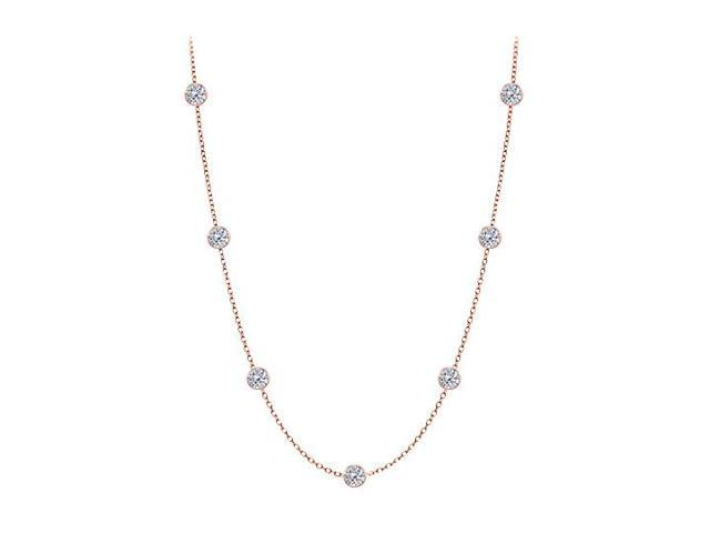 Diamonds By The Yard Necklace in 14K Rose Gold Bezel Set 1.00 ct.tw