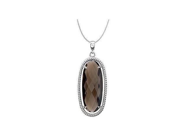 Oval Genuine Smoky Quartz Pendant in .925 Sterling Silver Rope Style 18 Inch Necklace 25X10 MM