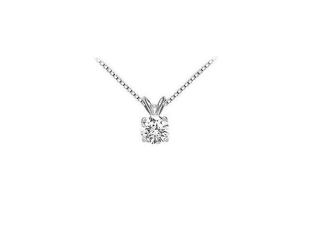 18K White Gold  Prong Set Round Diamond Solitaire Pendant  1.00 CT. TDW.