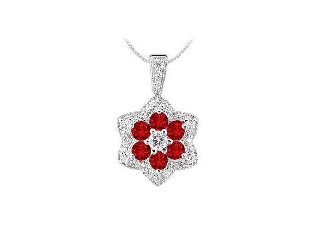 Ruby and Diamond Pendant  14K White Gold - 2.25 CT TGW