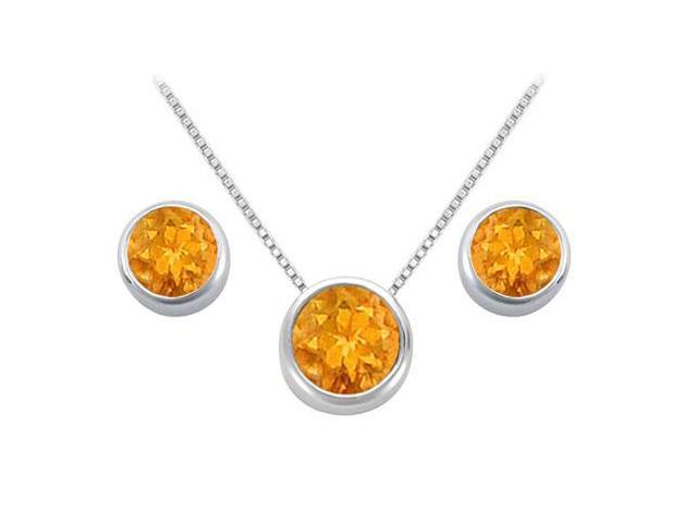 Citrine Solitaire Stud Earrings and Pendant in 14kt White Gold 3.00.ct.tgw
