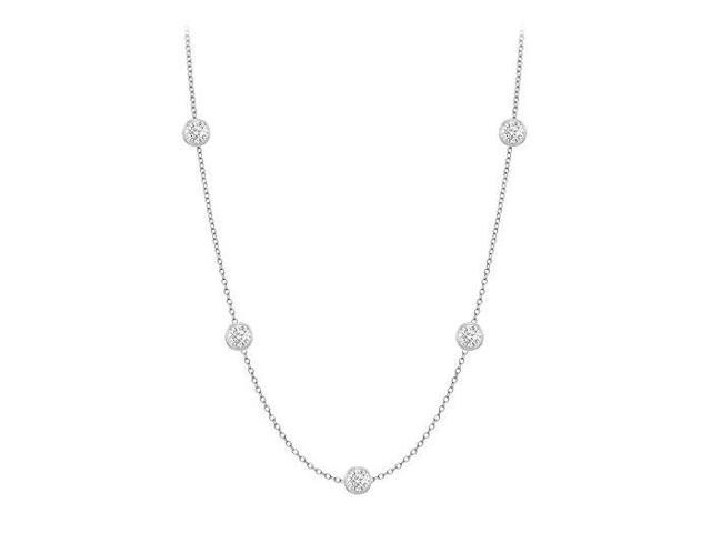 Diamonds By The Yard Necklace in 18K White Gold Bezel Set 0.25 ct.tw