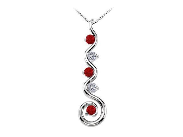 July Birthstone Created Ruby and CZ Spiral Pendant in Sterling Silver 0.75 CT TGW
