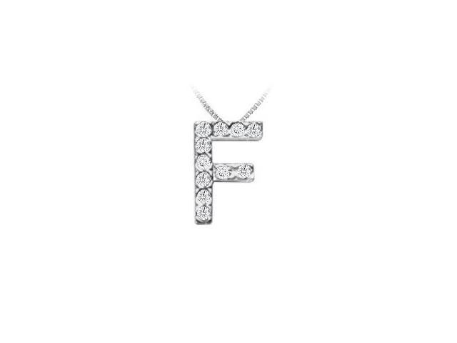 Classic F Initial Diamond Pendant  14K White Gold - 0.15 CT Diamonds
